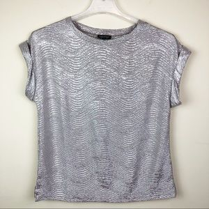 Topshop Metallic Silver Short Sleeved Oversized 4
